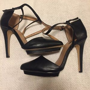 Forever 21 leather strap heels